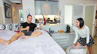 Horny step sister surprise visit in his bedroom