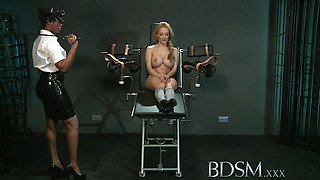 Slave girl with massive breasts gets it hard with forced orgasm from angry Mistress