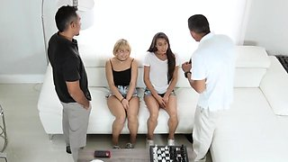 Step dad boss' crony's daughter first time The Double