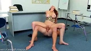 Julia Ann has a modern tits class with her boys