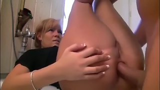 Fabulous blonde girl gets her tight round juicy ass fucked hard and creampied in the bathroom