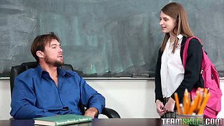 Hunky teaches enjoys fucking beautiful college babe Alice March