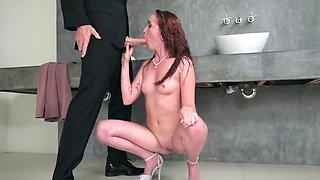 Hottie on high heels hard fucked in the bathroom