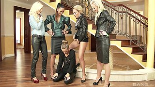 Lesbian orgy with kinky babes who are pissing on one another