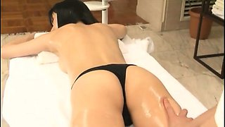 Sexy slim Japanese cutie gets massaged and double drilled