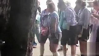 Oktoberfest girl in toilet line has to pee badly