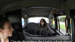 Female Fake Taxi British Spanish Lesbian Pussy Licking