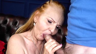 Old redhead takes cock between pussy lips waiting for orgasm
