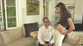 Bent over submissive buddy is brutally analfucked doggy by Tgirl Korra Del Rio