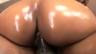 Crazy oiled up sex with black whore with big butt