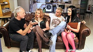 Rebecca Ryder and Harvey Jay take cum in a foot fetish foursome