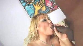 Blonde BBW enjoys sucking and fucking a BBC