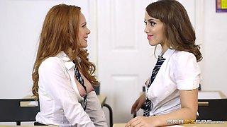 Magnificent schoolgirls going crazy over their classmate's schlong