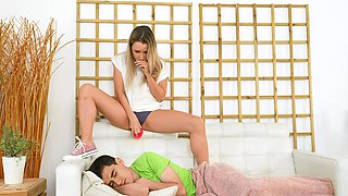 Sleeping dude gets waked up by cock hungry room-mate Mona Blue
