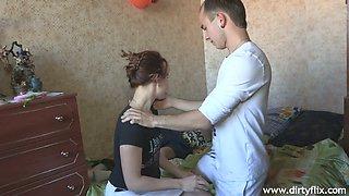 Russian chick Sveta ties up her boyfriend and fucks his best friend