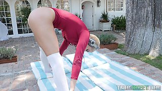 she'd done her stretches, now the real workout begins