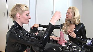 Slutty mistress Eleise de Lacy shoves a metal hod in penis head