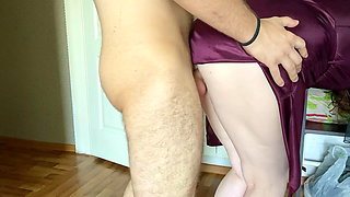Unexpectedly inserted his cock into the pussy of his girl