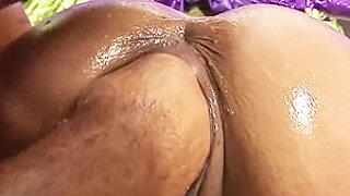 oiled busty Milf deep fisting