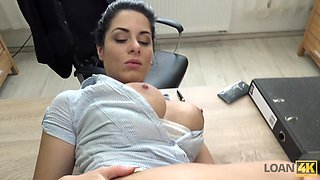 Young brunette with big cans Alex gets her anus rammed for loan
