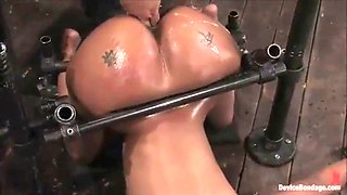 tied up ebony slut gets slammed up with her big ass oiled