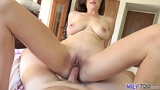 Perfect amateur busty MILF is so happy to ride strong cock on top