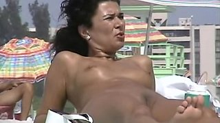 Hot forms and tight pussies voyeured on the nudist beach