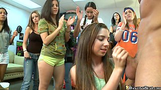 A few cute teens show their blowjob and handjob skills to some dudes