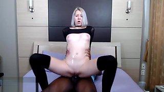 Blonde Loves Riding Thick BBC in Black Socks
