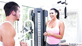 Fit MILF Reagan Foxx finds a big cock to ride in the gym