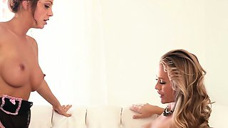 Elegant lesbian maid tribbing her busty boss