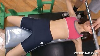 Teen asian gets tits rubbed in the gym