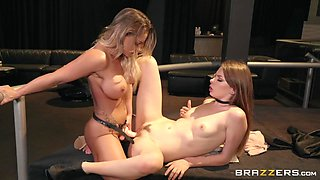 fucking a slim teen with a huge strap-on