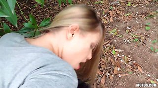 Torrid blonde beauty Selvaggia Babe is picked up for some quickie in the woods