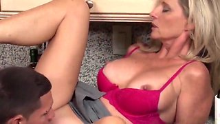 Busty Cougar Milf Gets Rough Fucked By A Teen In The Kitchen