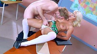 Sexy schoolgirl in white stockings loves dicking