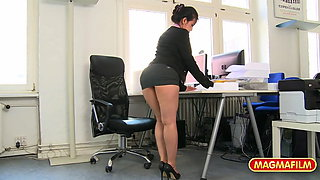 Short skirt office slut fucked at work for a raise