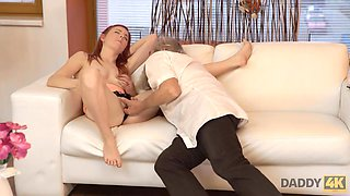 DADDY4K. Stud catches daddy fingering his girl and quickly joins them