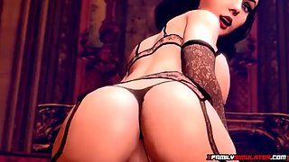 Sexy brunette 3d milf rides dick and blows it well