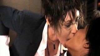 Sarah Shahi lesbian kissing Katherine Moennig passionately