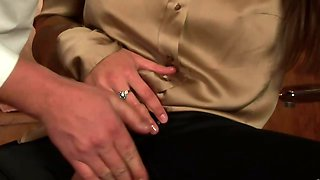 Hot glamour brunette gets fetish fucked by classy guy