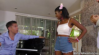 Petite ebony teen experiences a threeway with two men