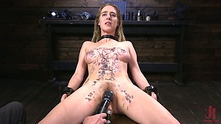 Tied up and restrained porn actress Cadence Lux gets her body and pussy punished
