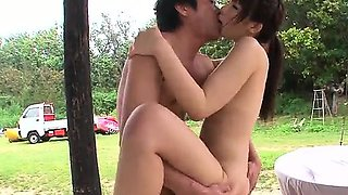 Sweet threesome gets Japanese beauty to moan like bimbos