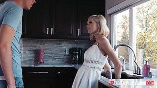 Charming babysitter Arya Fae is fucked hard in the kitchen