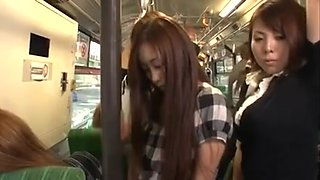 Lesbos grope cutie in bus (three)
