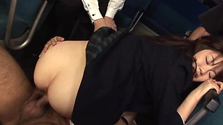 Gangbang in a bus is a dream come true for Asian horny student