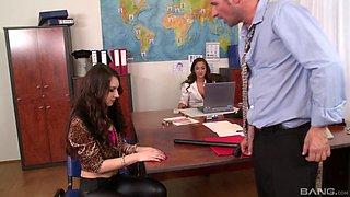 Boss and his slutty secretary seduce a new employee