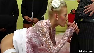 Blonde wife Leny Wild fucked by a lot of guys before her wedding