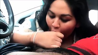 Chunky Oriental babe worships a big black cock in the car